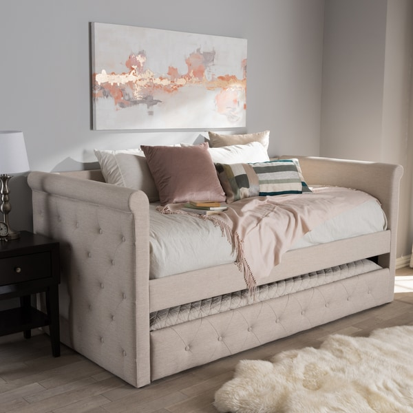 shop contemporary fabric daybed with trundle by baxton studio free shipping today overstock. Black Bedroom Furniture Sets. Home Design Ideas