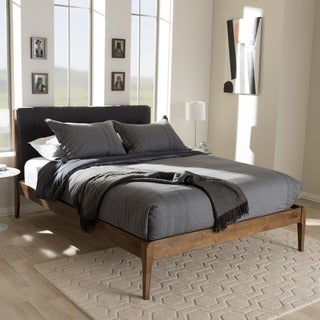 midcentury fabric upholstered and medium brown finish wood platform bed by baxton studio