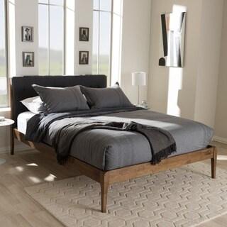 Carson Carrington Forshaga Mid-century Fabric Upholstered and Medium Brown Wood Platform Bed