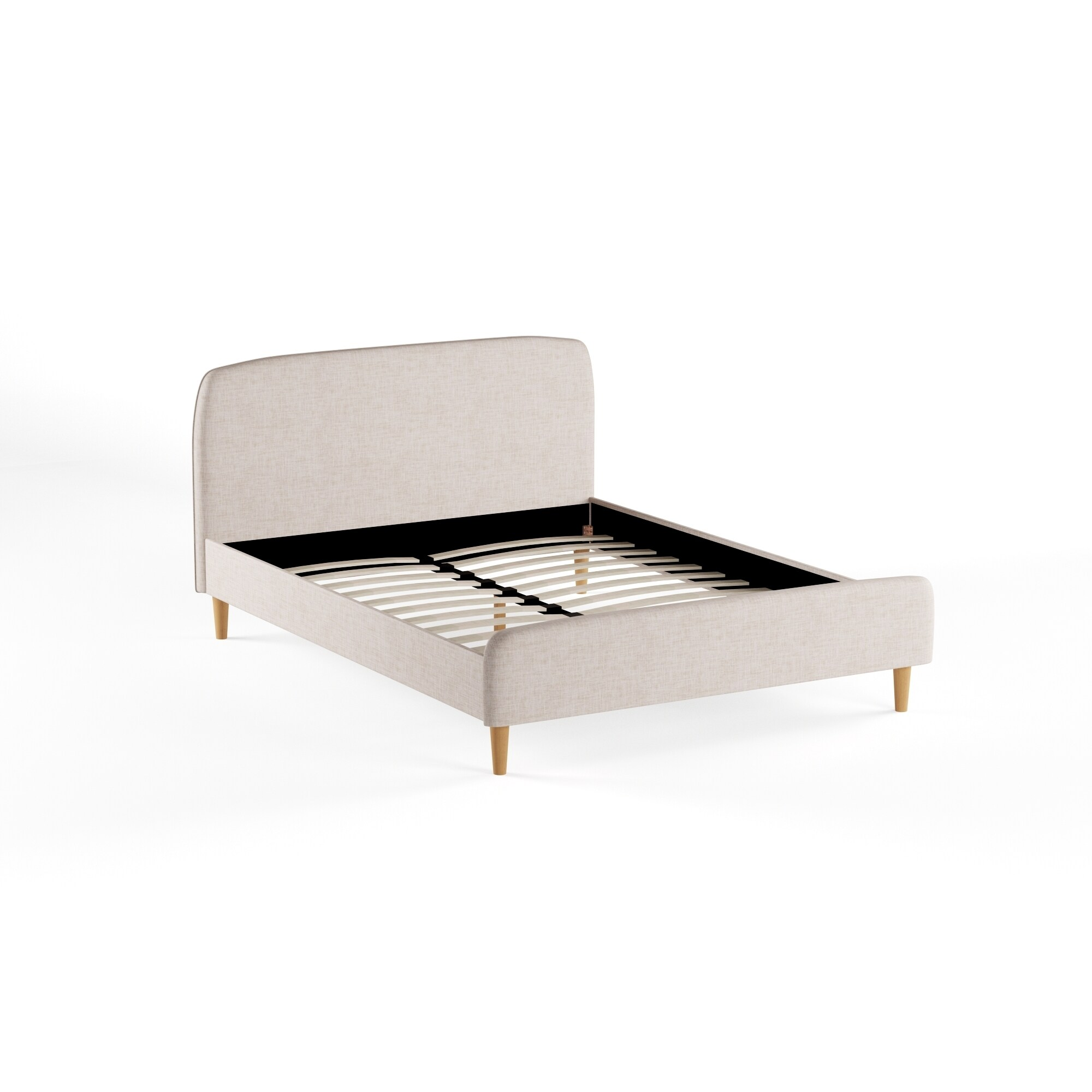 Mid-Century Fabric Upholstered Platform Bed by Baxton Stu...