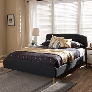 midcentury fabric upholstered platform bed by baxton studio