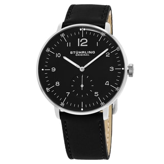Stuhrling Original Men's Quartz Monaco Black Leather Strap Watch