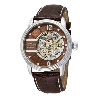Stuhrling Original Men's Automatic Skeleton Legacy Brown Leather Strap Watch