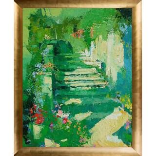 Alex Bertaina 'Escalier Fleuri' Fine Art Print on Canvas