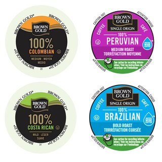 Brown Gold Single Origin South American Coffee Packs, Bittersweet Coffees to Make Your Day, 96 Count