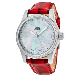 Oris Women's 733 7649 4966 LS 'Big Crown' Mother of Pearl Dial Red Leather Strap Swiss Automatic Watch