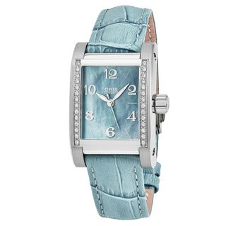 Oris Women's 561 7536 4955 LS 'Miles' Blue Mother of Pearl Dial Blue Leather Strap Swiss Automatic Watch
