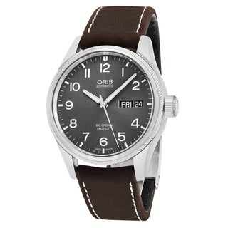 Oris Men's 752 7698 4063 LS 05 'Big Crown' Grey Dial Brown Leather Strap Day Date Swiss Automatic Watch