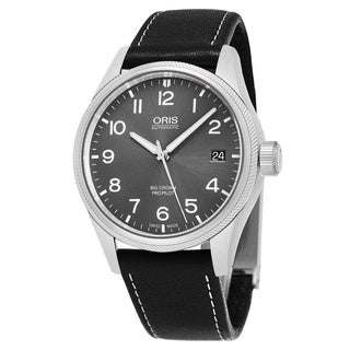 Oris Men's 751 7697 4063 LS 19 'Big Crown' Grey Dial Black Leather Strap Swiss Automatic Watch