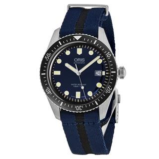 Oris Men's 733 7720 4055 LS 28 'Heritage Divers 65' Blue Dial Blue/Black Nylon Strap Swiss Automatic Watch