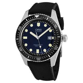 Oris Men's 733 7720 4055 LS 18 'Heritage Divers65' Blue Dial Black Rubber Strap Swiss Automatic Watch