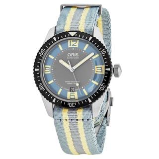 Oris Men's 733 7707 4065 LS 28 'Heritage Divers 65' Light Blue Dial Blue Nylon Strap Swiss Automatic Watch
