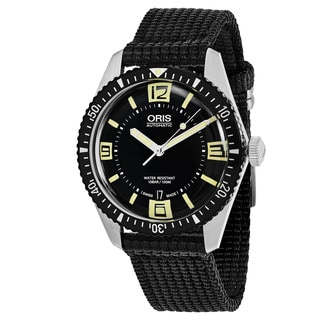 Oris Men's 733 7707 4064 LS 24 'Divers65' Black Dial Black Nylon Strap Swiss Automatic Watch