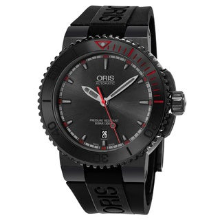 Oris Men's 733 7653 4783 RS 'Aquis El Hierro' Black Dial Black Rubber Strap Swiss Automatic Watch