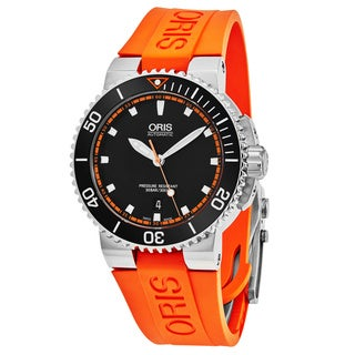 Oris Men's 733 7653 4128 RS 2 'Aquis' Black Dial Orange Rubber Strap Swiss Automatic Watch