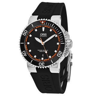 Oris Men's 733 7653 4128 RS 1 'Aquis' Black Dial Black Rubber Strap Swiss Automatic Watch