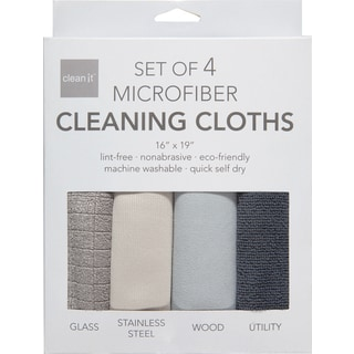 Clean It Microfiber Polyester-Polyamide Cleaning Cloths Blend Set of 4
