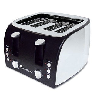 Coffee Pro 4-Slice Multi-Function Toaster with Adjustable Slot Width Black/Stainless Steel