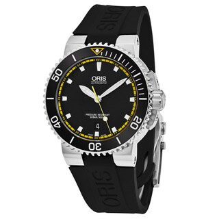Oris Men's 733 7653 4127 RS 'Aquis' Black Dial Black Rubber Strap Swiss Automatic Watch