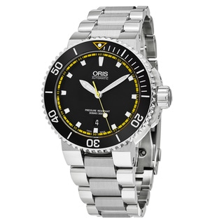 Oris Men's 733 7653 4127 MB 'Aquis' Black Dial Stainless Steel Swiss Automatic Watch