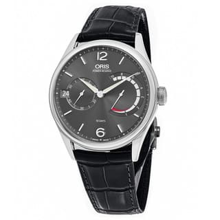 Oris Men's 111 7700 4063 LS 72 'Big Crown' Anthracite Dial Black Leather Strap Power Reserve Swiss Mechanical Watch|https://ak1.ostkcdn.com/images/products/14229398/P20820708.jpg?impolicy=medium