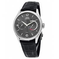 Oris Men's  'Big Crown' Anthracite Dial Black Leather Strap Power Reserve Swiss Mechanical Watch