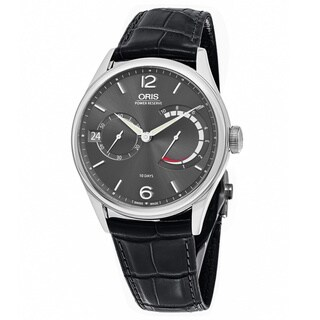 Oris Men's 111 7700 4063 LS 72 'Big Crown' Anthracite Dial Black Leather Strap Power Reserve Swiss Mechanical Watch