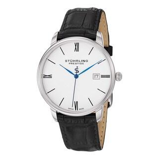 Stuhrling Original Men's Swiss Quartz 'Kingston' Black Classy Leather Strap Watch