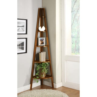 Contemporary Walnut Finished Corner 5 Tier Bookshelf