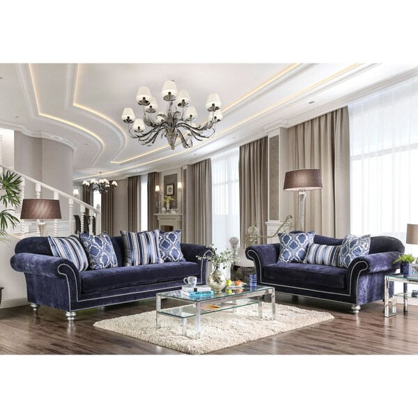 Alema Glam Navy Microfiber Sofa By Furniture Of America Free Shipping Today Com 20820744