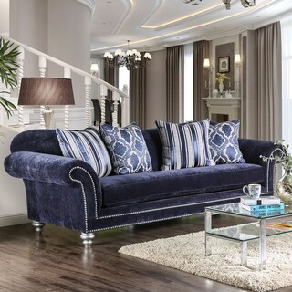 Alema Glam Navy Microfiber Sofa by Furniture of America