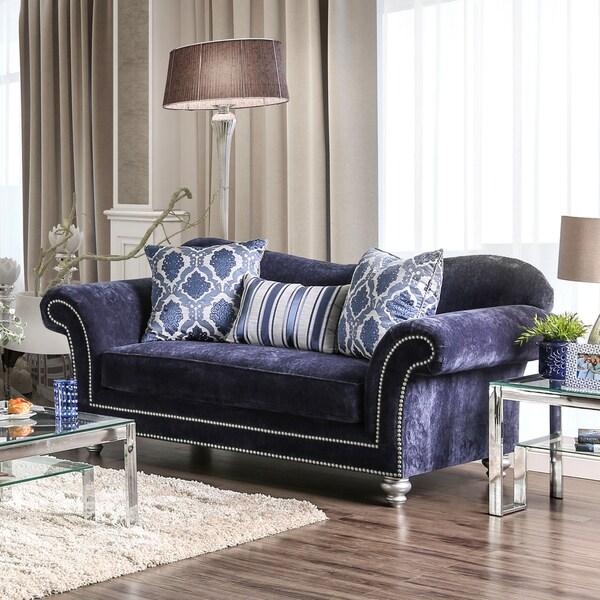 Superbe Alema Glam Navy Microfiber Loveseat By Furniture Of America