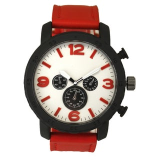 Olivia Pratt Basic and Bold Stainless Steel and Leather 1-size Men's Watch
