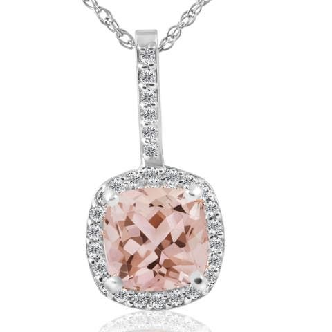 14K White Gold 2 ct TW Cushion Morganite & Diamond Halo Pendant (G-H/SI1-SI2) - Pink