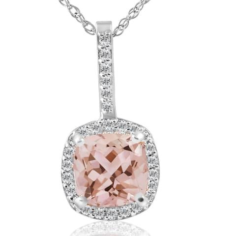 14K White Gold 2 ct TW Cushion Morganite & Diamond Halo Pendant (G-H/SI1-SI2) - Pink