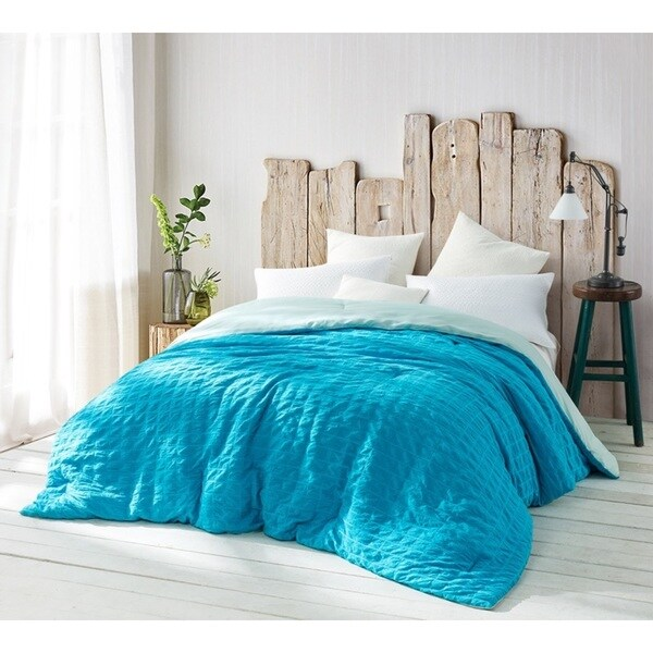 BYB Aqua Wrinkled Handcrafted Series Comforter (Shams Not Included)