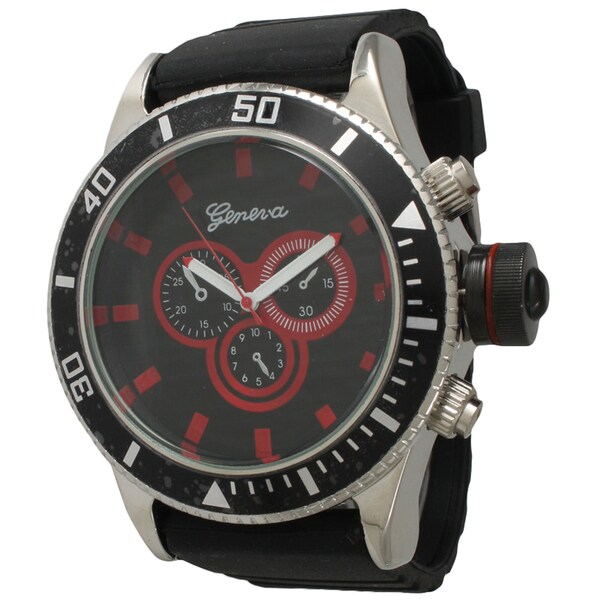 Olivia Pratt Men's Simple and Bold Black Silicone One Size Watch. Opens flyout.