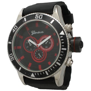 Olivia Pratt Men's Simple and Bold Black Silicone One Size Watch