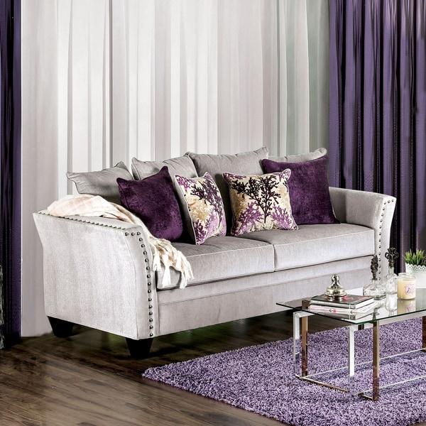 Modern Nailhead Sofa: Clera Contemporary Nailhead Premium Velvet-like Fabric