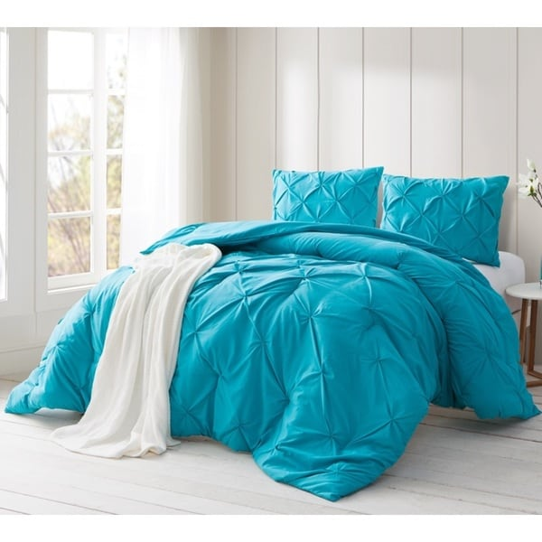 BYB Peacock Blue Pin Tuck Comforter Set