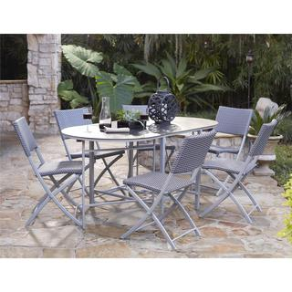 COSCO Outdoor Living Transitional 7-piece Delray Steel Woven Wicker Compact Folding Patio Dining Set