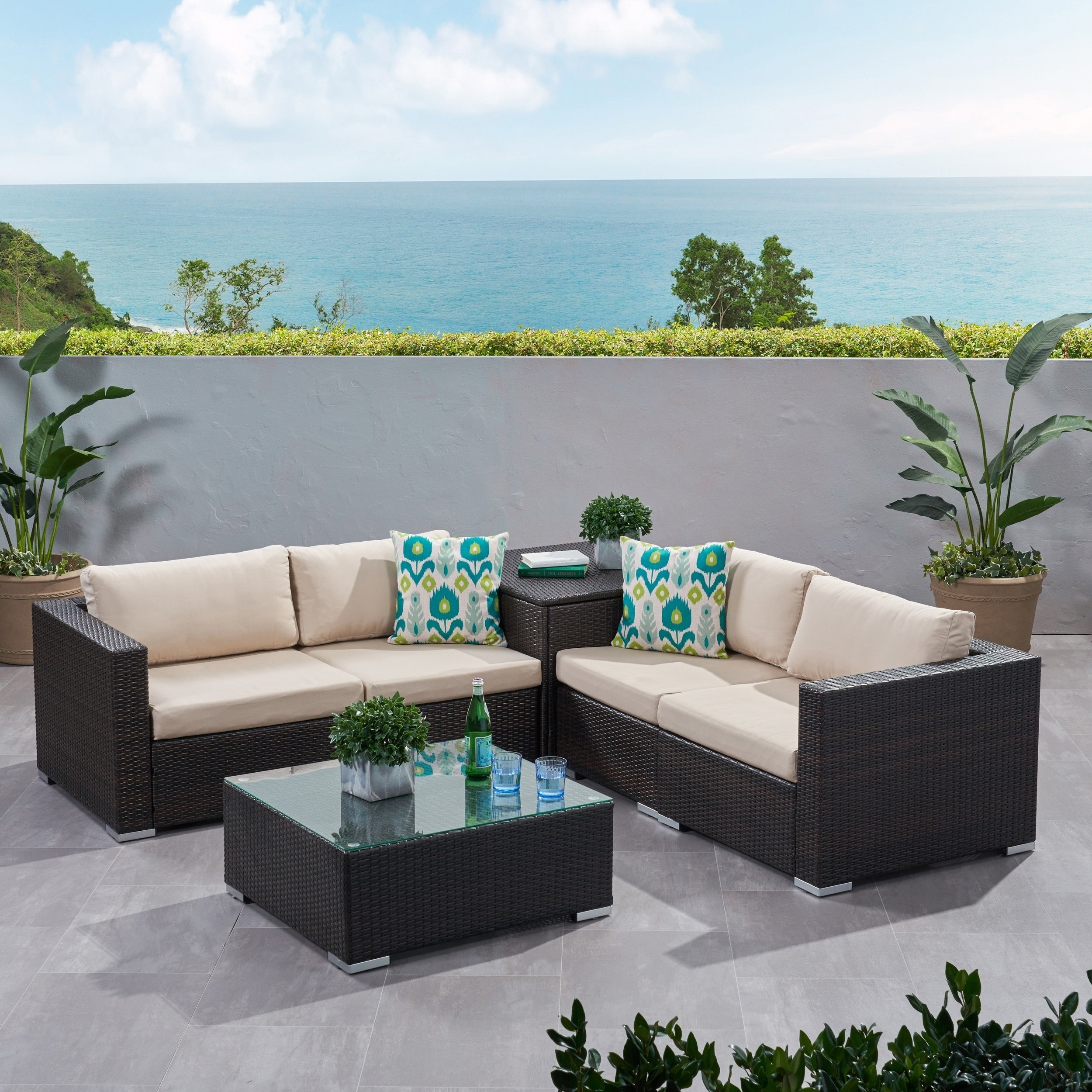 Santa Rosa Outdoor 6-piece Wicker Sectional Sofa with Sto...