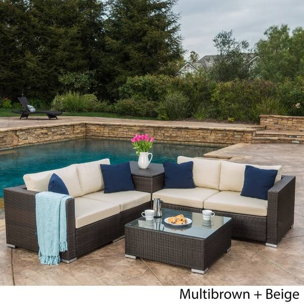 Santa Rosa Outdoor 6 Piece Wicker Sectional Sofa With Storage By Christopher Knight Home Overstock 14229616