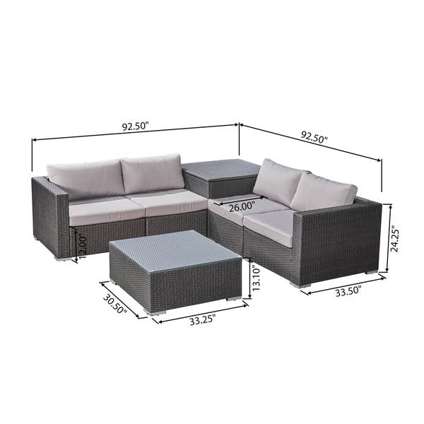 Outdoor 6 Piece Wicker Sectional Sofa