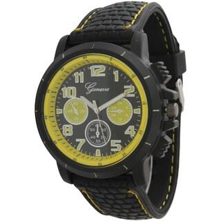 Olivia Pratt Men's Textured Silicone/Stainless Steel One-size Rugged Watch