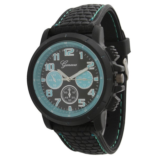 Olivia Pratt Men's Textured Silicone/Stainless Steel One-size Rugged Watch. Opens flyout.