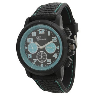 Olivia Pratt Men's Textured Silicone/Stainless Steel One-size Rugged Watch