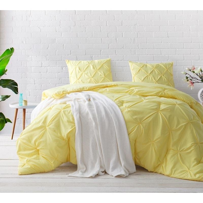 Shop Byb Limelight Yellow Pin Tuck Comforter Set On Sale