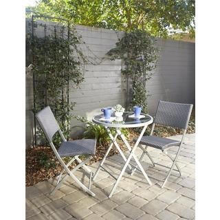 Clay Alder Home Commodore Transitional 3-piece Delray Steel Woven Wicker Dining Height Folding Patio Bist