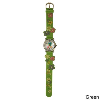 Olivia Pratt Kids' Colorful Flowers Silicone One-size Watch (Option: Green)